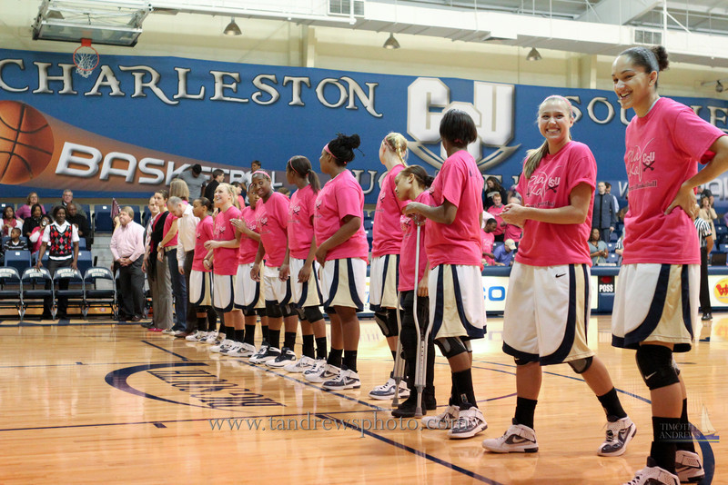 "The Lady Bucs pulled out a 77-72 victory over High Point University during their ""Play 4 Kay Day"". February 18, 2012"
