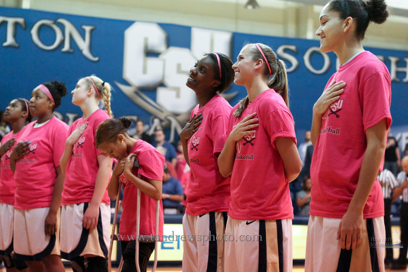 """The Lady Bucs pulled out a 77-72 victory over High Point University during their """"Play 4 Kay Day"""". February 18, 2012"""