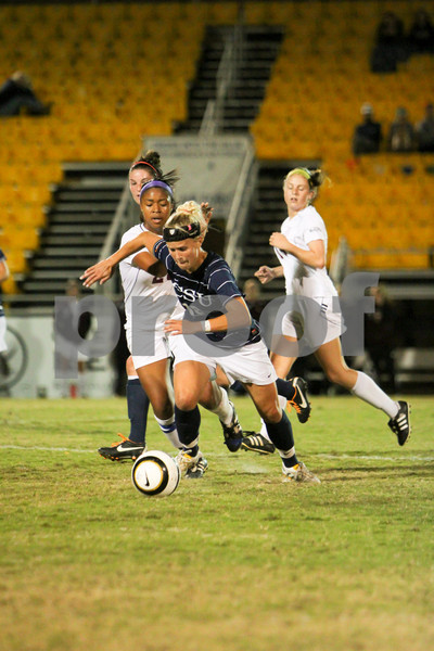 Morgann Wood (18, CSU) attempts to put some distance on Okina Crawley (26, Winthrop) during the Quarter Finals of the Big South Conference Chapionship. CSU lost to Winthrop (1-0) in a Penalty Kick Shootout.