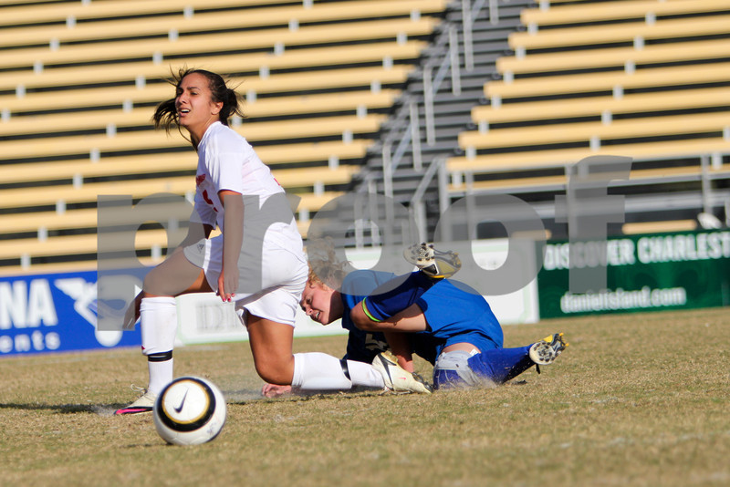 Megan Foster (15, UNC-Asheville) and Sahar Aflaki (19, Radford) come down after a mid-air collision. Radford defeated UNC-Asheville in a Penalty Kick Shootout in the Quarter Finals of the Big South Conference Championship tournament,