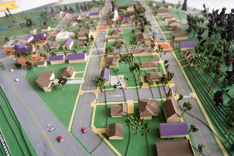 Hanging model of Bay City, Oregon, found in the Bay City Arts Center.