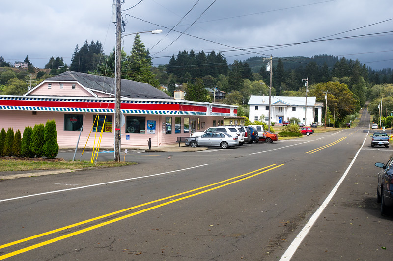 Bay City Market and Downie's Cafe in Bay City, Oregon.