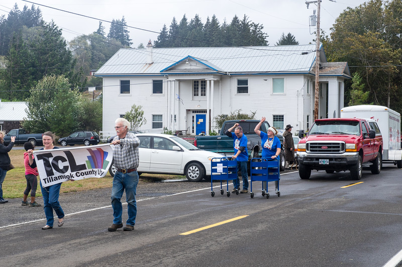Parade marchers in the Bay City, Oregon Pearl Festival, 2015.