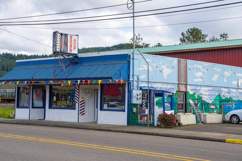 Tina's Barber Shop in Garibaldi, Oregon.