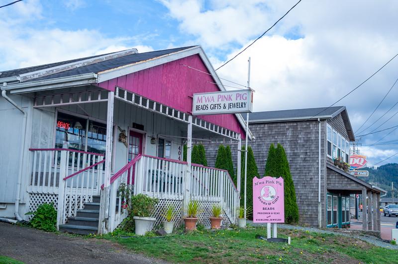 M'Wa Pink Pig in Garibaldi, Oregon.