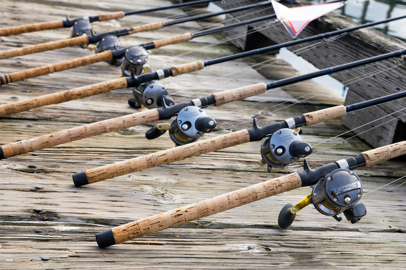 Rods waiting for fishermen in the Garibaldi Marina in Garibaldi, Oregon.