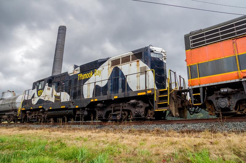 Tillamook Railroad cars in Garibaldi, Oregon.