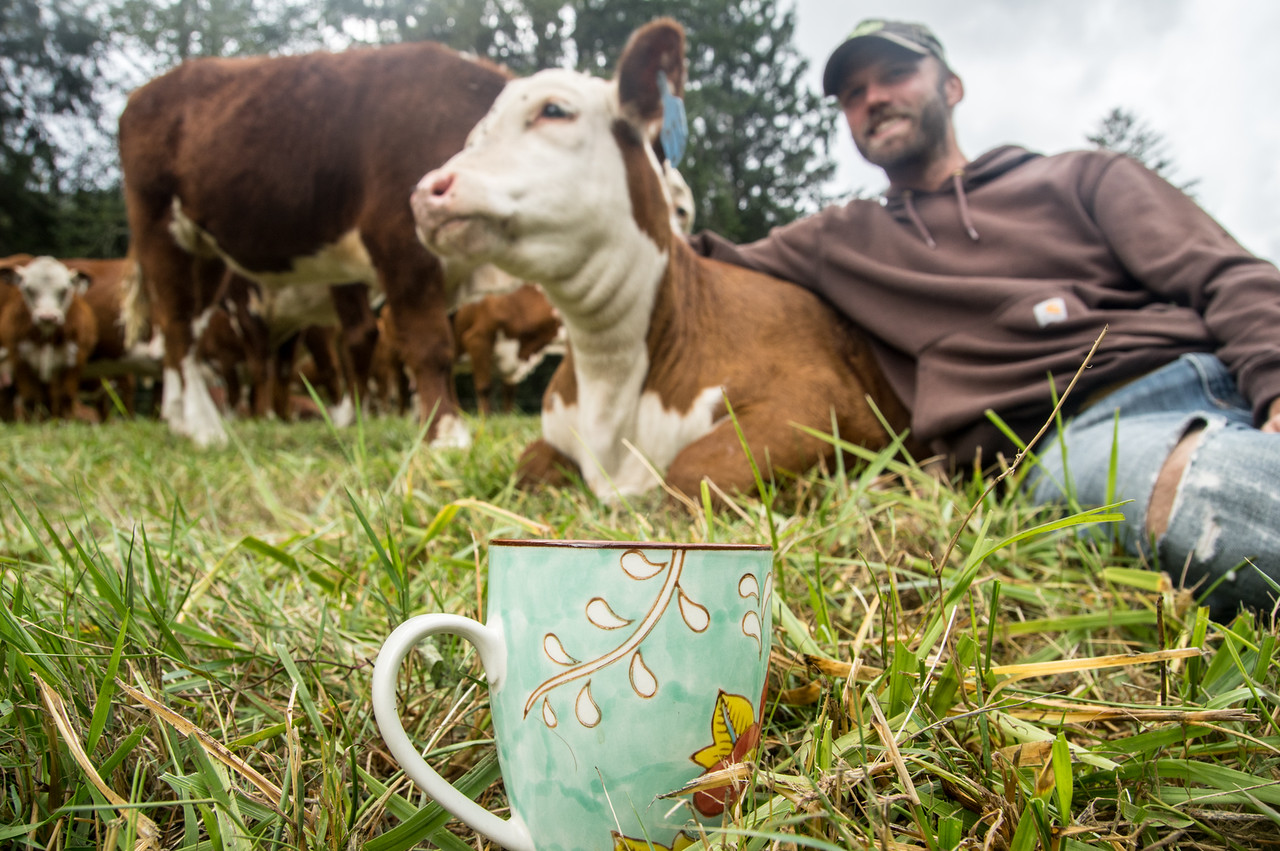 Jared of Nehalem River Ranch takes a coffee break with a cuddly cow,