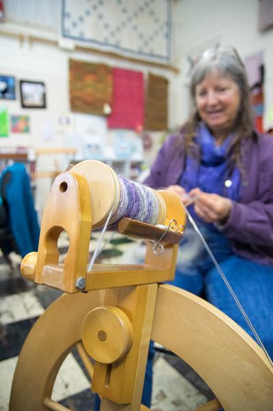 Linda Christensen at the Latimer Quilt Center, Tillamook, OR