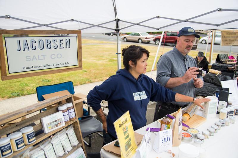 Jacobsen Salt Co. booth at Tillamook Farmers Market, Tillamook, Oregon