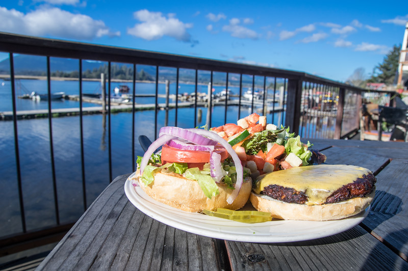 Nehalem Bay and a burger  from the deck of the Tsunami Grill in Wheeler, Oregon