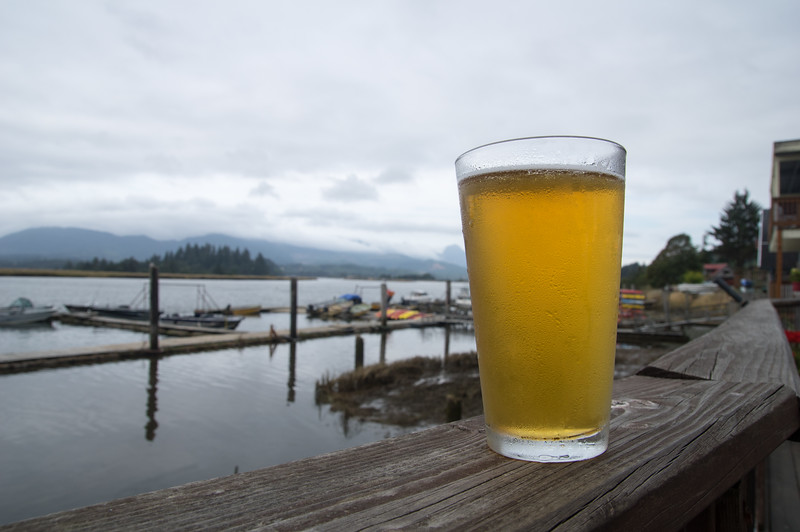 A  regional beer on the deck of the Tsunami Grill in Wheeler, Oregon