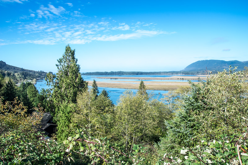 Nehalem Bay and Neahkahnie Mountain, as viewed from the top of the hill in Wheeler, Oregon