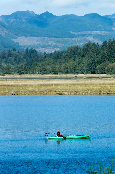 Kayak fishing in Nehalem Bay, from Wheeler, Oregon