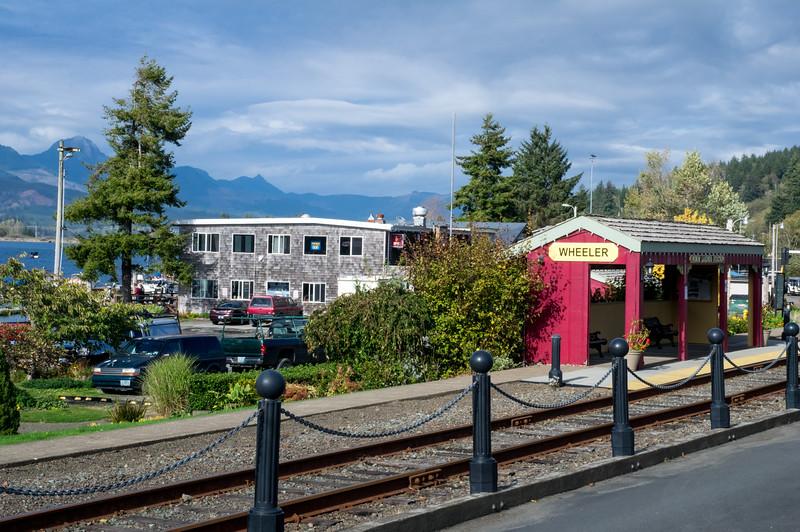 The railroad tracks, downtown Wheeler, Oregon