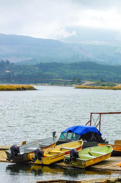 Wheeler Marina's boats in Wheeler, Oregon, on the Nehalem Bay