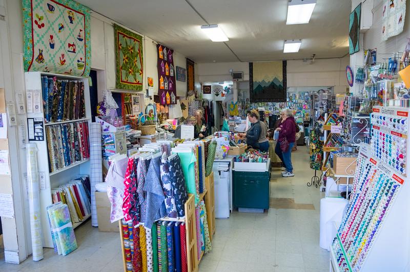 Inside Creative Fabrics, downtown Wheeler, Oregon