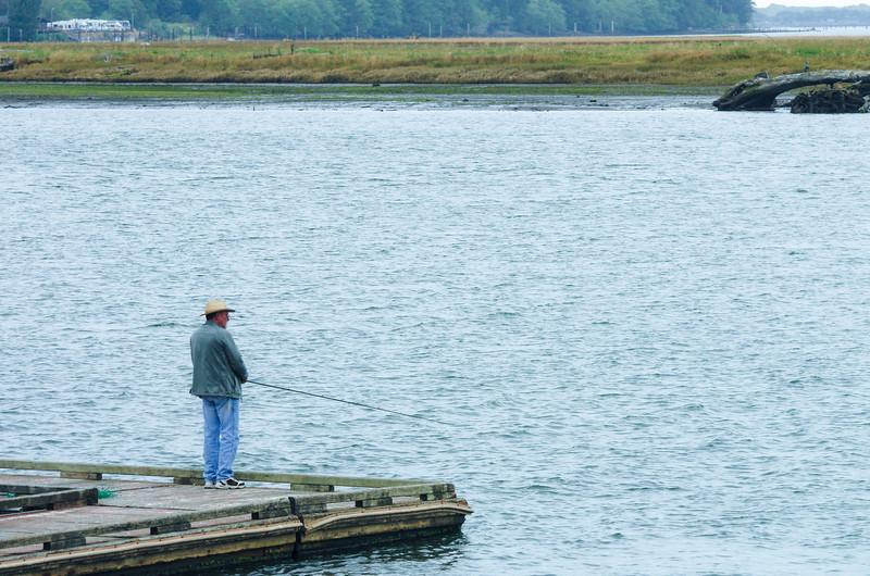 Fishing the Nehalem Bay off the public docks in Wheeler, Oregon