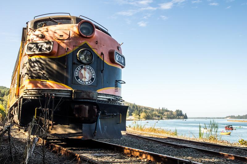 Oregon Coast Scenic Railroad engine, parked along Nehalem Bay, in Wheeler, Oregon