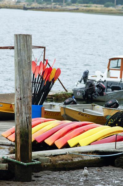 Wheeler Marina's kayak fleet in Wheeler, Oregon, on the Nehalem Bay