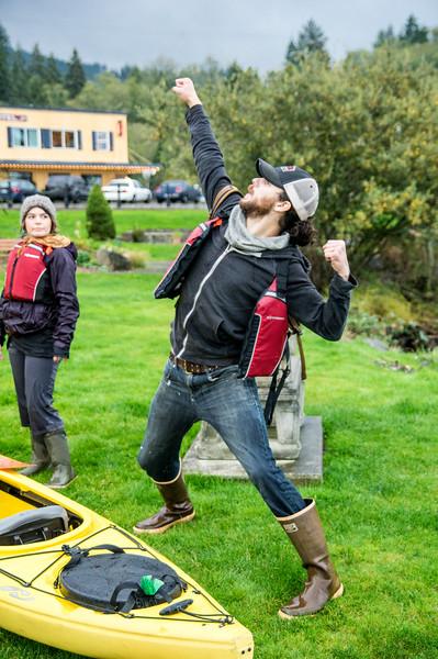 Finishing a kayak trip in Wheeler, Oregon