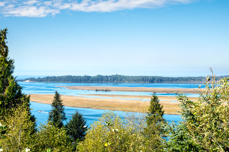 Nehalem Bay, as viewed from the top of the hill in Wheeler, Oregon