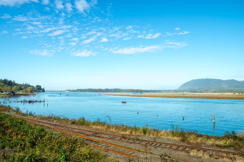 Nehalem Bay and Neahkahnie Mountain, as viewed from Highway 101 in Wheeler, Oregon