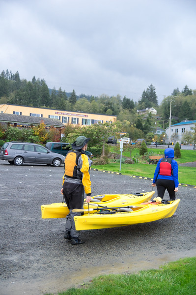 Finishing a kayak trip in Wheeler, Oregon