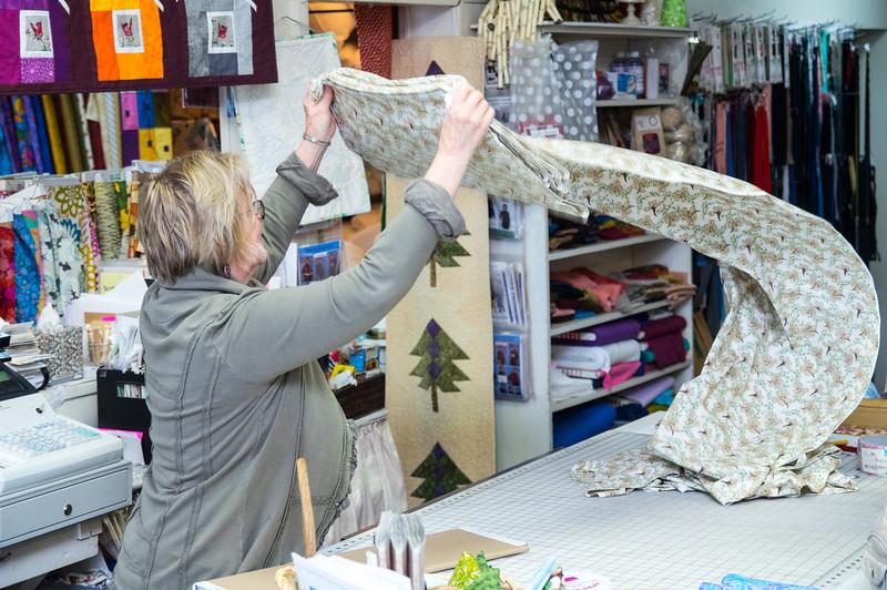Doris Bash, owner of Creative Fabrics, downtown Wheeler, Oregon