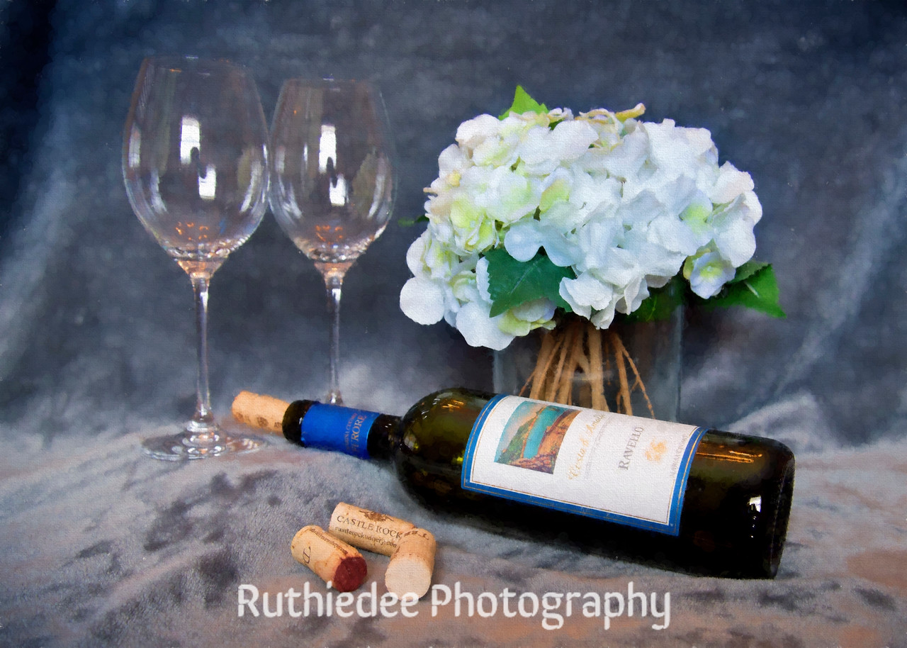 Wine and Hydrangeas