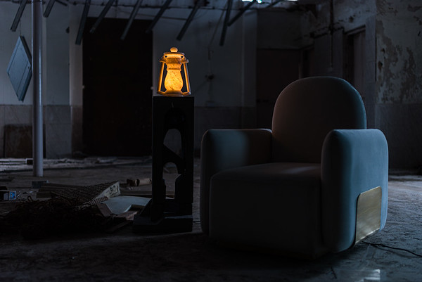 Swivel Chair & Lamp