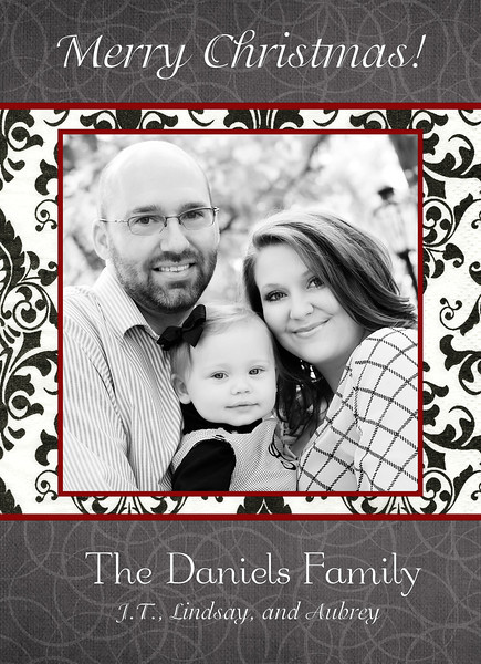 daniels red and black damask 5x7