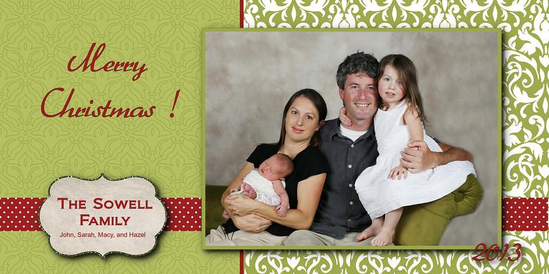 Sowell card green and red polka dot ribbon 5x7