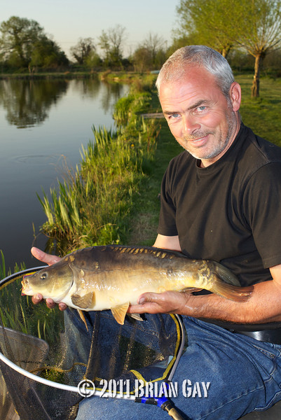 In the evening sunlight Jamie Cook poses with a mirror carp caught during the top kit challenge at the Sedges, Bridgwater, Somerset. © 2011 Brian Gay