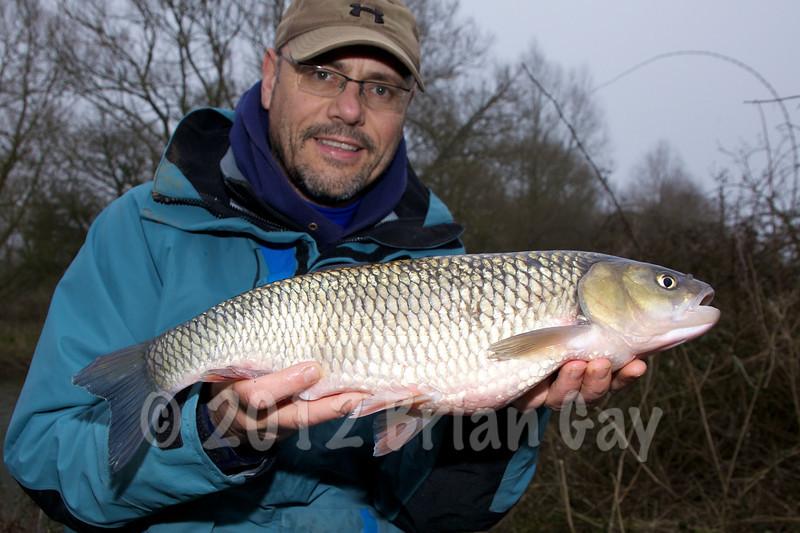 Brian Gay with a 5-15-0 chub taken on single maggot under stick float gear, Dorset Stour, Thrrop, Beat 2.