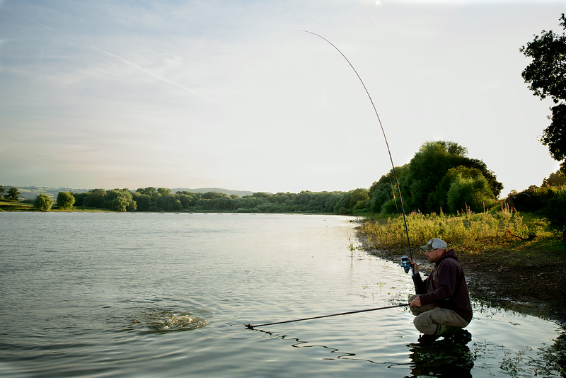"""Brian Gay plays a double figure carp to the net from Durleigh Reservoir's far bank lifebuoy area. © 2014 Shawn Kittridge  <a href=""""http://www.v2v-visuals.co.uk"""">http://www.v2v-visuals.co.uk</a>"""