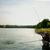 "Brian Gay plays a double figure carp to the net from Durleigh Reservoir's far bank lifebuoy area. © 2014 Shawn Kittridge  <a href=""http://www.v2v-visuals.co.uk"">http://www.v2v-visuals.co.uk</a>"