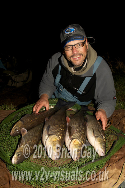 Brian Gay with a six chub bag from the Dorset Stour at Longham, tempted on stick and maggot. Best fish 6 lb 2 oz plus a 4 lb 15 oz specimen, a trio of 3-4 lb fish plus a 2 lb-plus sample. © 2010 Brian Gay