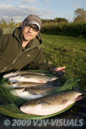 """The pick of my day at Longham, on the Dorset Stour: chub 5-13-0, 5-10-0, 5-6-0, 4-6-0, 4-0-0 displayed on the 30"""" Korum Barbel spoon. All caught on waggler and maggot. 161009. © 2009 Brian Gay."""