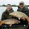 """We started the session both hooking double figure fish within minutes of each other at 10 am in the morning probably about a hour after starting. Shawn Kittridge (l) tempted the mirror carp with a Krill barrel bait tipped with a fluro pink pop-up. Brian Gay offered a single 20 mm bottom bait Nashbait Purple Monster squid boilie for his mind to upper double common.  Pic Hannah Clarke © 2014  <a href=""""http://www.v2v-visuals.co.uk"""">http://www.v2v-visuals.co.uk</a>"""