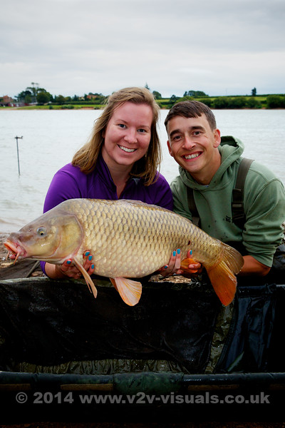 Hannah Clarke and Shawn Kittridge with an upper double common from Durleigh reservoir. This one picked up DOUBLE 20 mm Purple Monster Squid boilies at 80 yards. © 2014 Brian Gay