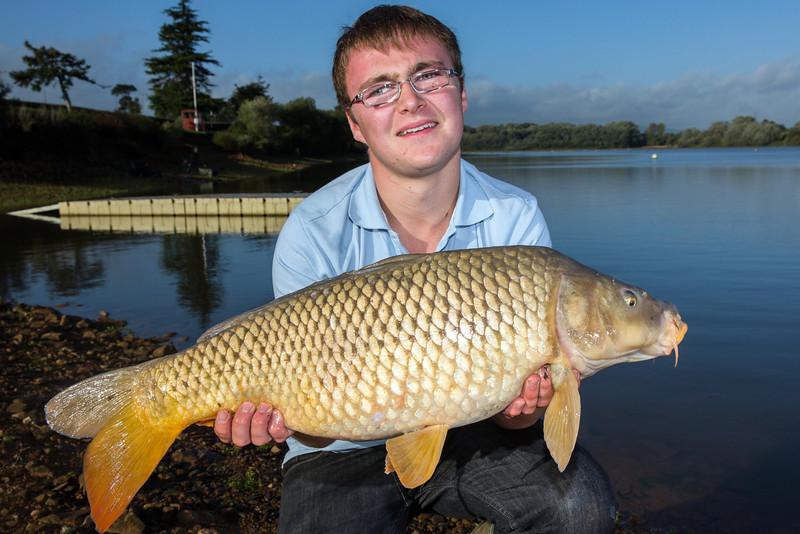 Joe McCall nets a double figure (18 lb) Durleigh reservoir at the dam end.