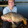 Joe McCall nets a double figure (18 lb) Durleigh reservoir at the dam end.