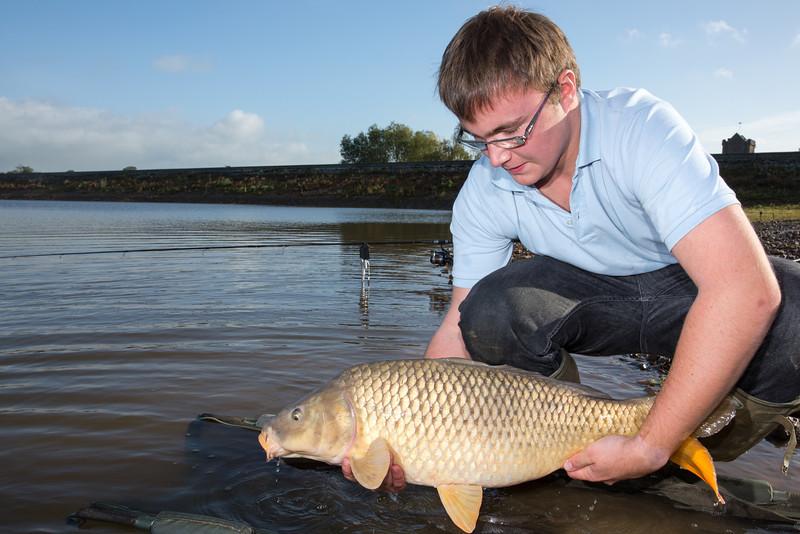 Joe McCall returns a double figure (18 lb) Durleigh reservoir at the dam end.