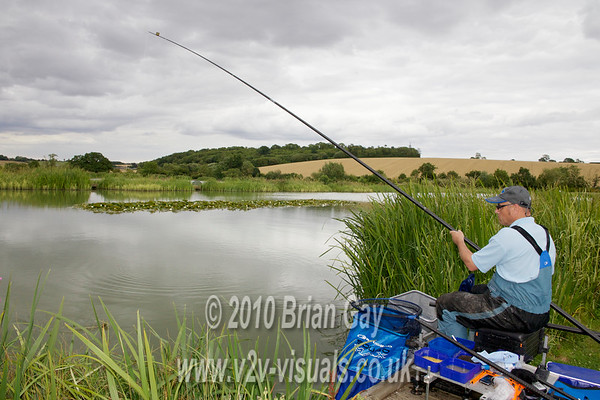Brian Gay fishing for tench on the Sunset Lake at Lemington Lakes, Moreton In The Marsh, Gloucestershire. UK.