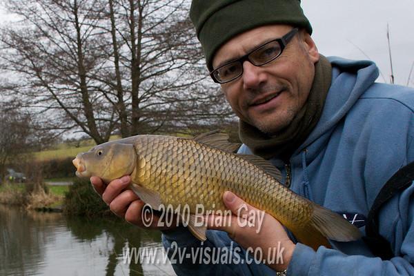 Brian Gay fishing Milemead Lakes carp Lake for roach in January 2010. © 2010 Brian Gay
