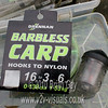 Packet of Drennan Barbless Carp hooks to nylon. Size 16 to 0.138 dia. 3 lb 6 oz breaking strain. © 2010 Brian Gay