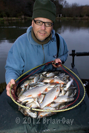Brian Gay fishing Milemead Lakes carp Lake for roach in January 2010. © 2010 Brian Gay
