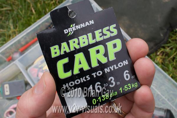 Packet of Drennan Barbless Carp hooks to nylon. Size 16 to 0.138 dia. 3 lb 6 oz breaking strain. © 2010 Brian Gay