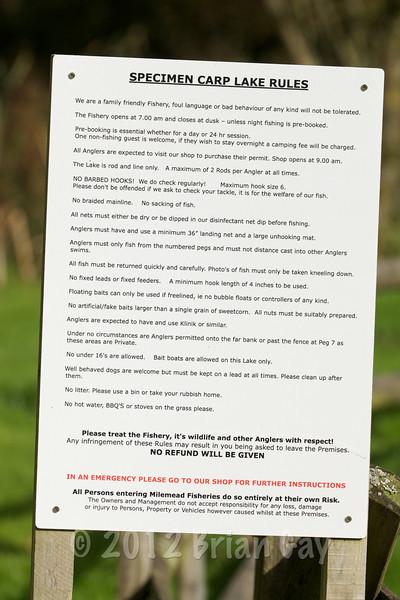 The Specimen Carp Lake rules sign at Milemad, Tavistock, Devon. © 2012 Brian Gay